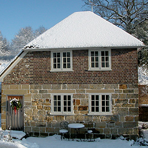 Cider house in the snow